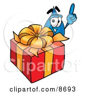 Clipart Picture Of A Water Drop Mascot Cartoon Character Standing By A Christmas Present by Toons4Biz