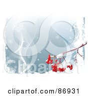 Royalty Free RF Clipart Illustration Of A Branch With Red Ash Berries Suspended Out On A Blue Snowy Background by Pushkin