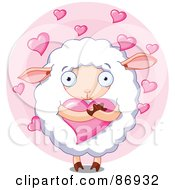 Royalty Free RF Clipart Illustration Of A Cute And Sweet Sheep Hugging A Heart Over A Pink Circle Of Hearts by Pushkin