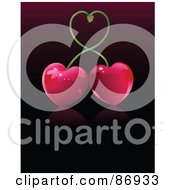 Shiny Cherry Pair Forming A Heart With Their Stems