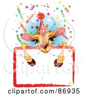Royalty Free RF Clipart Illustration Of An Adorable Giraffe Wearing A Party Hat And Looking Over A Blank Party Sign With Colorful Confetti
