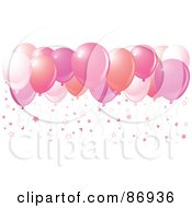 Royalty Free RF Clipart Illustration Of Different Shades Of Pink Balloons With Star Confetti by Pushkin