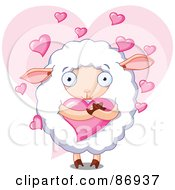 Royalty Free RF Clipart Illustration Of A Romantic Sheep Hugging A Heart Over A Pink Heart by Pushkin