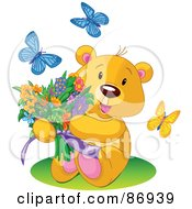 Royalty Free RF Clipart Illustration Of Butterflies Around A Sweet Teddy Bear Holding A Colorful Flower Bouquet by Pushkin