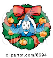 Clipart Picture Of A Water Drop Mascot Cartoon Character In The Center Of A Christmas Wreath by Toons4Biz
