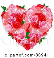 Royalty Free RF Clipart Illustration Of A Floral Heart Of Pink And Red Roses Babys Breath And Green Leaves by Pushkin