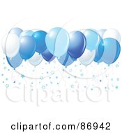 Royalty Free RF Clipart Illustration Of Different Shades Of Blue Balloons With Star Confetti
