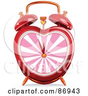 Royalty Free RF Clipart Illustration Of A Red Heart Shaped Alarm Clock With A Pink Face