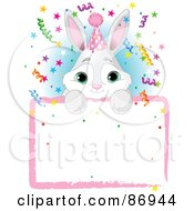 Adorable Bunny Wearing A Party Hat And Looking Over A Blank Party Sign With Colorful Confetti