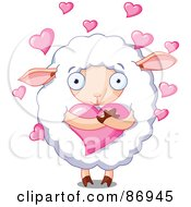 Royalty Free RF Clipart Illustration Of Hearts Floating Around A Cute Sheep Hugging A Heart by Pushkin
