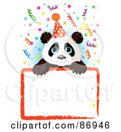 Royalty Free RF Clipart Illustration Of An Adorable Panda Wearing A Party Hat And Looking Over A Blank Party Sign With Colorful Confetti