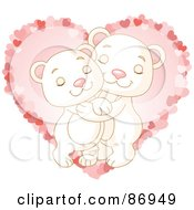 Royalty Free RF Clipart Illustration Of A Sweet Polar Bear Couple Hugging Over A Pink Heart