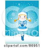 Royalty Free RF Clipart Illustration Of A Cute Blond Winter Girl Dressed In Blue Holding A Snowflake In Her Hands