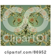 Royalty Free RF Clipart Illustration Of An Ornate Curling Vine On Green Background by AtStockIllustration