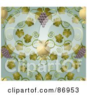Royalty Free RF Clipart Illustration Of An Ornate Purple Grape Vine And Urn Pattern Background by AtStockIllustration