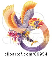 Royalty Free RF Clipart Illustration Of A Majestic Oriental Purple Phoenix by AtStockIllustration
