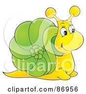 Royalty Free RF Clipart Illustration Of A Curious Yellow And Green Snail With A Big Nose
