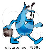Clipart Picture Of A Water Drop Mascot Cartoon Character Holding A Bowling Ball by Toons4Biz