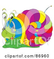 Royalty Free RF Clipart Illustration Of A Colorful Snail Listening To Music Through Headphones by Alex Bannykh