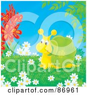 Royalty Free RF Clipart Illustration Of A Cute Yellow And Green Snail Surrounded By Flowers by Alex Bannykh