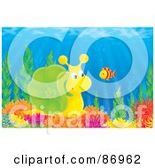 Royalty Free RF Clipart Illustration Of A Cute Yellow And Green Snail Watching A Fish On A Coral Reef