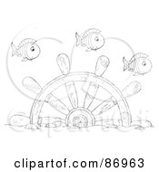 Royalty Free RF Clipart Illustration Of Outlined Fish Swimming Over A Sunken Helm