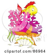 Royalty Free RF Clipart Illustration Of A Marine Fish Over Purple Corals