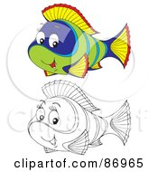 Royalty Free RF Clipart Illustration Of A Digital Collage Of Colored And Black And White Tropical Fish Version 3