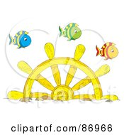Royalty Free RF Clipart Illustration Of Marine Fish Swimming Over A Sunken Helm