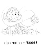 Royalty Free RF Clipart Illustration Of An Outlined Blowfish Over A Sunken Canon
