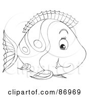 Royalty Free RF Clipart Illustration Of A Cute Outlined Marine Fish Version 1