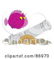 Royalty Free RF Clipart Illustration Of A Purple Blowfish Over A Sunken Canon