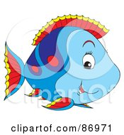Royalty Free RF Clipart Illustration Of A Cute Blue And Red Marine Fish