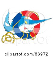 Royalty Free RF Clipart Illustration Of A Marlin Fish With A Life Buoy by Alex Bannykh