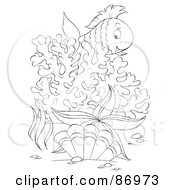 Royalty Free RF Clipart Illustration Of An Outlined Marine Fish Over Purple Corals by Alex Bannykh