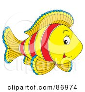 Royalty Free RF Clipart Illustration Of A Cute Striped Yellow And Red Marine Fish