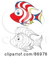 Royalty Free RF Clipart Illustration Of A Digital Collage Of Colored And Black And White Tropical Fish Version 4