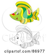 Royalty Free RF Clipart Illustration Of A Digital Collage Of Colored And Black And White Tropical Fish Version 5