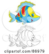 Royalty Free RF Clipart Illustration Of A Digital Collage Of Colored And Black And White Tropical Fish Version 2