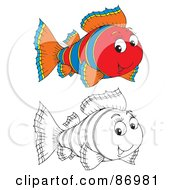 Royalty Free RF Clipart Illustration Of A Digital Collage Of Colored And Black And White Tropical Fish Version 1