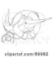 Royalty Free RF Clipart Illustration Of An Outlined Marlin Fish With A Life Buoy