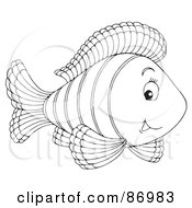 Royalty Free RF Clipart Illustration Of A Cute Outlined Marine Fish Version 2