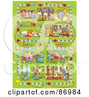 Royalty Free RF Clipart Illustration Of A Green Goldilocks And The Three Bears Board Game Layout by Alex Bannykh
