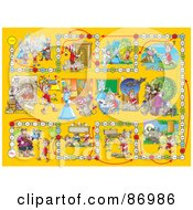 Royalty Free RF Clipart Illustration Of A Yellow Pinocchio Board Game Layout by Alex Bannykh