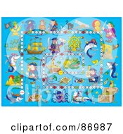 Royalty Free RF Clipart Illustration Of A Blue Pirate Board Game