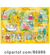 Royalty Free RF Clipart Illustration Of A Yellow Animal Board Game Layout by Alex Bannykh