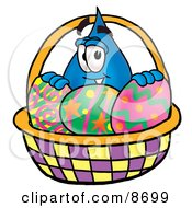 Water Drop Mascot Cartoon Character In An Easter Basket Full Of Decorated Easter Eggs