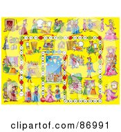 Royalty Free RF Clipart Illustration Of A Yellow Cinderella Board Game Layout by Alex Bannykh
