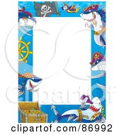 Royalty Free RF Clipart Illustration Of A Pirate Shark Frame Around White Space by Alex Bannykh