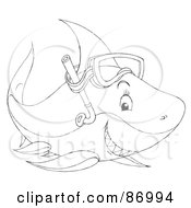 Royalty Free RF Clipart Illustration Of An Outlined Snorkel Shark